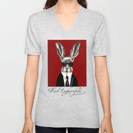 Karl Lagharefeld cute fashion designer bunny rabbit Unisex V-Neck