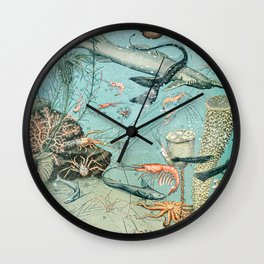 Underwater Creature Diagram // Ocean II by Adolphe Millot XL 19th Century Science Artwork Wall Clock
