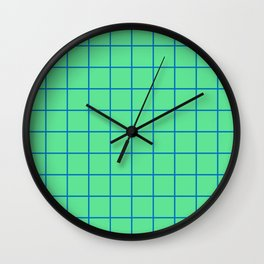 Peppermint Green and Blue Grid Wall Clock
