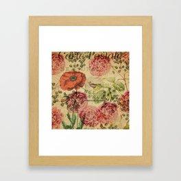 Vintage bohemian floral bird cage collage Framed Art Print