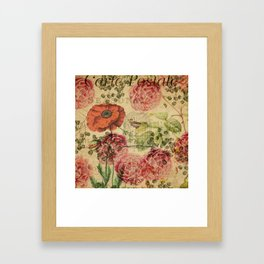 Vintage bohemian floral bird cage collage Framed Art Print