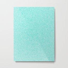 Melange - White and Turquoise Metal Print