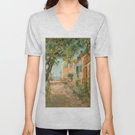 Classical Masterpiece 'Provincetown, Cape Cod' by Frederick Childe Hassam Unisex V-Neck