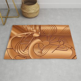 Magical Kokopelli in Burnt Orange Rug