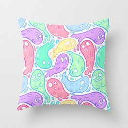 Good Lil' Ghost Gang in Bright Colors Throw Pillow