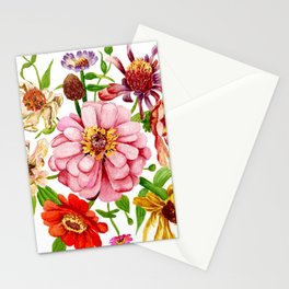 Zinnia Wildflower Floral Painting Stationery Cards