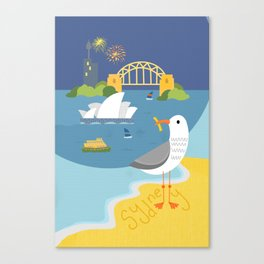 Seagull on Sydney Harbour Canvas Print