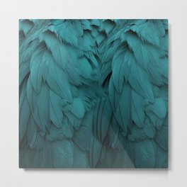 Aqua Feathers Metal Print