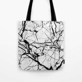 Dusty White Marble - Textured Black And White Tote Bag
