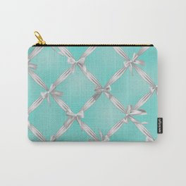 White Bows Turquoise Robin's Egg Blue Carry-All Pouch