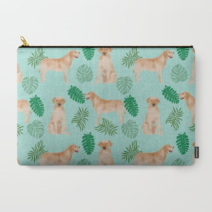 Yellow_Lab_summer_monstera_tropical_pure_breed_dog_gifts_CarryAll_Pouch_by_labrador_life__Large_125_x_85