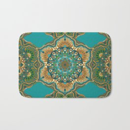 Colorful abstract ethnic floral mandala pattern design Bath Mat