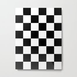 Large Checkered - White and Black Metal Print