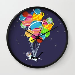 Flying Space Cat Wall Clock