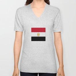 flag of egypt- Egyptian,nile,pyramid,pharaon,cleopatra,moses,cairo,alexandria. Unisex V-Neck