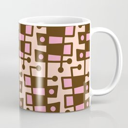 Mid Century Modern Abstract 212 Pink and Brown Coffee Mug