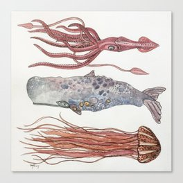 Stacked Sea Creatures / Whale, Squid, Jellyfish  Canvas Print