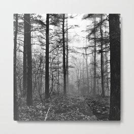 Dark & Eerie Foggy Forest (Black & White) Metal Print