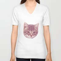 kitten V-neck T-shirts featuring Kitten  by Freak Clothing