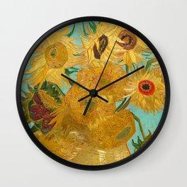 Van Gogh - Sunflowers - Vase with Twelve Sunflowers Wall Clock