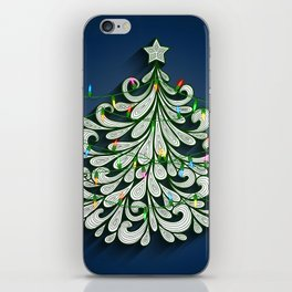Christmas tree with colorful lights iPhone Skin