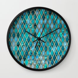 Malachite Turquoise Sparkle Faux Gold Rhomb Pattern Wall Clock