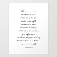 bible verse Art Prints featuring Bible Verse Print - Phillipians by JPW Design Studio