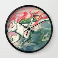 okami Wall Clocks featuring Okami Amaterasu by Owlapin