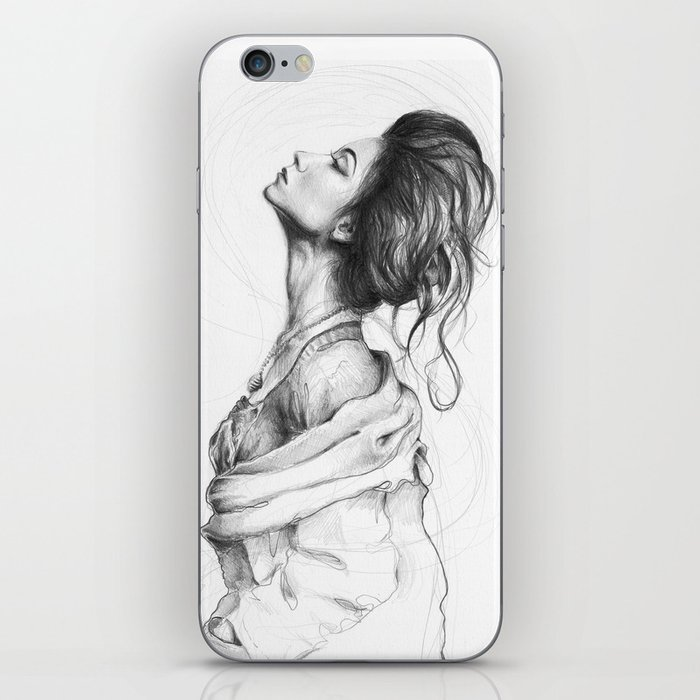 Pretty Lady Illustration Woman Portrait Beauty iPhone Skin