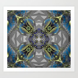 Cosmic Celtic Metallic Rococo Mandala Cross Print Art Print