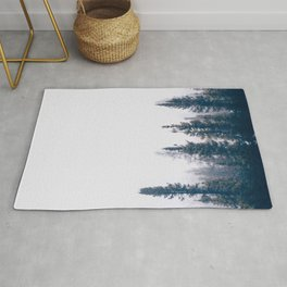 Minimalist Landscape Photo Pine Tree Silhouette Misty Forest Rug