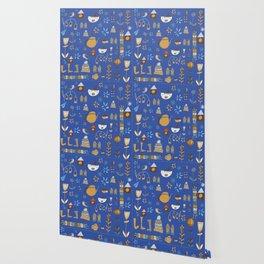 hygge cat and bird blue Wallpaper