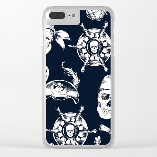 Navy Blue Pirate Pattern Clear iPhone Case