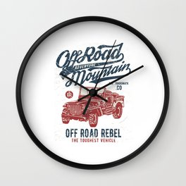 Off Road Adventure Mountain - Off Road Rebel Jeep T Shirt Wall Clock