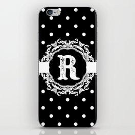 Black Monogram: Letter R iPhone Skin