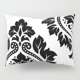 Decorative Damask Art I Black on White Pillow Sham