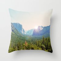 yosemite Throw Pillows featuring Yosemite by Chelem