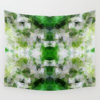 green pattern Wall Tapestries featuring Green pattern by Veronika