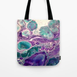 Lilies On A Purple Pond - Abstract Acrylic Art by Fluid Nature Tote Bag