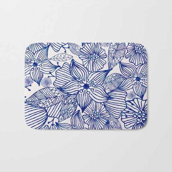 Hand painted royal blue white watercolor floral illustration Bath Mat