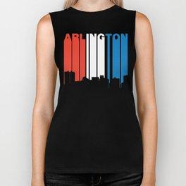 Red White And Blue Arlington Texas Skyline Biker Tank