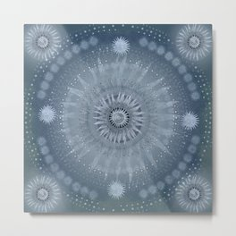 """Indigo blue & Cinder Vault Mandala(Silver stars)"" Metal Print"