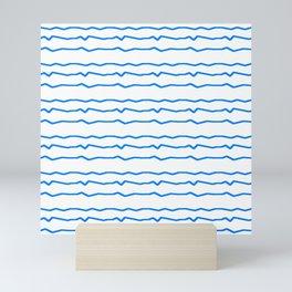 Mariniere and wave 3 blue Mini Art Print