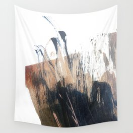 Clarity: a pretty, minimal abstract in rose gold and deep blue Wall Tapestry