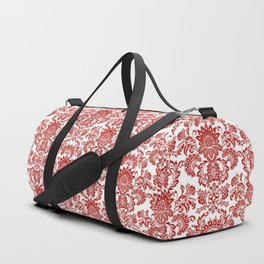 Damask in red Duffle Bag