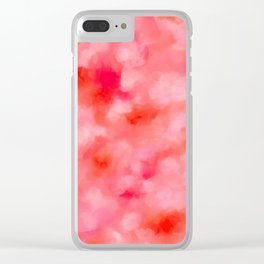 Blush Cream Coral Floral Abstract Clear iPhone Case