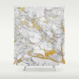Gold Flecked Marble Shower Curtain