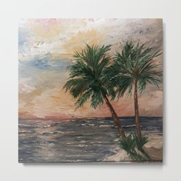 Beach Side  Oil on Canvas Metal Print