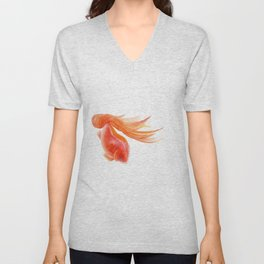 Goldfish , Gold Fish, Yellow Goldfish , watercolor painting by Suisai Genki Unisex V-Neck