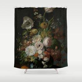 Rachel Ruysch - Still life with flowers in a glass vase (1690-1720) Shower Curtain